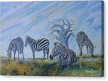 Canvas Print featuring the painting Browsing Zebras by Anthony Mwangi