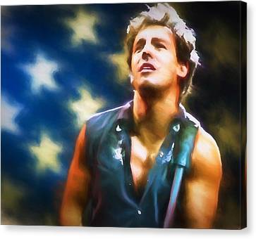 Bruce Springsteen Americana Canvas Print by Dan Sproul