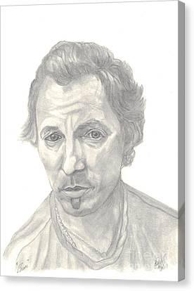 Bruce Springsteen Portrait Canvas Print by Carol Wisniewski