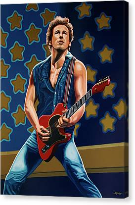 Artwork On Canvas Print - Bruce Springsteen The Boss Painting by Paul Meijering