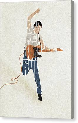 Canvas Print featuring the digital art Bruce Springsteen Typography Art by Inspirowl Design