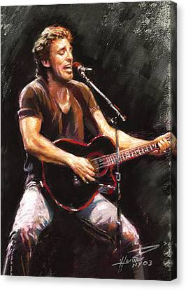 Roll Canvas Print - Bruce Springsteen  by Ylli Haruni