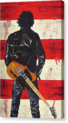 Bruce The Boss Springsteen Canvas Print by Francesca Agostini