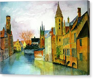 Brugge Belgium Canal Canvas Print by Larry Hamilton