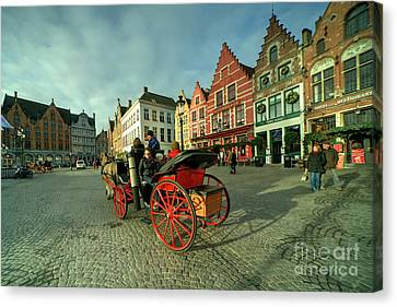 Horse And Cart Canvas Print - Brugge Grand Place Horse N Cart  by Rob Hawkins