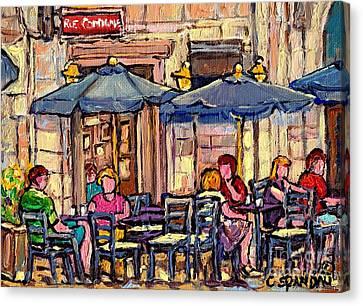 Brunch On The Terrace Old Montreal Rue De La Commune Paris Style Cafe Bistro Art Carole Spandau      Canvas Print by Carole Spandau