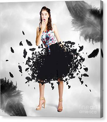 Brunette Pin-up Woman In Gorgeous Feather Skirt Canvas Print by Jorgo Photography - Wall Art Gallery