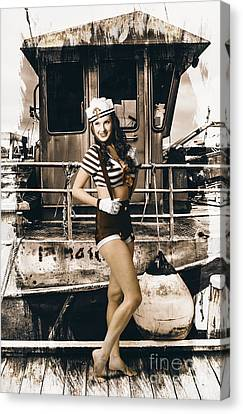 Brunette Wwii Pinup Lady Standing By Naval Boat Canvas Print by Jorgo Photography - Wall Art Gallery