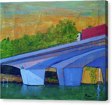 Canvas Print featuring the painting Brunswick River Bridge by Paul McKey
