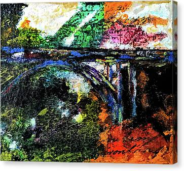 Canvas Print featuring the mixed media Brush Creek Bridge by Lisa McKinney