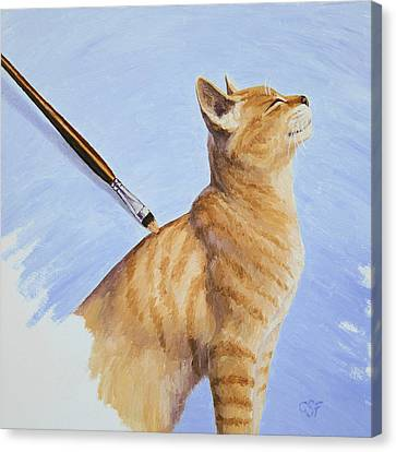 Brushing The Cat Canvas Print by Crista Forest