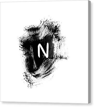 Noah Canvas Print - Brushtroke N -monogram Art By Linda Woods by Linda Woods