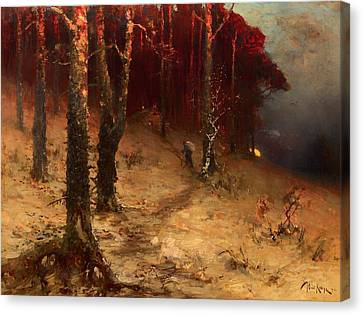 Brushwood Collector Bordering The Woods Canvas Print by Mountain Dreams