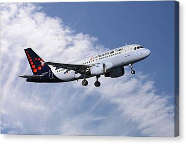 Airlines Canvas Print - Brussels Airlines Airbus A319-111 by Nichola Denny