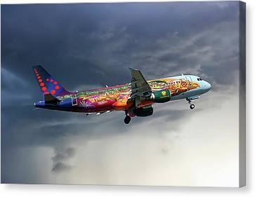 Airlines Canvas Print - Brussels Airlines Airbus A320-214 by Nichola Denny