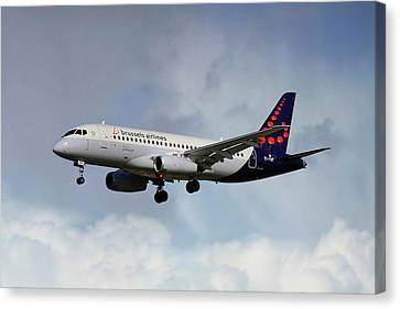 Airlines Canvas Print - Brussels Airlines Sukhoi Superjet 100-95b by Nichola Denny