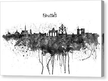 Bruxelles Canvas Print - Brussels Black And White Skyline Silhouette by Marian Voicu