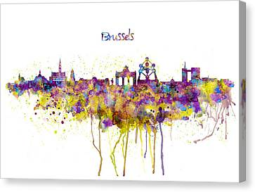 Modern Digital Art Canvas Print - Brussels Skyline Silhouette by Marian Voicu