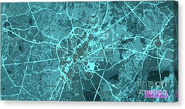 Times Square Canvas Print - Brussels Traffic Abstract Blue Map And Cyan by Pablo Franchi