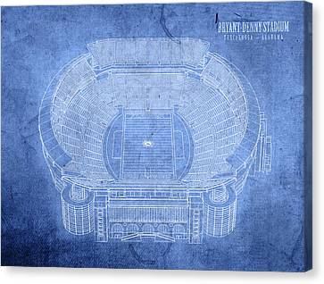 Bryant Denny Stadium Alabama Crimson Tide Football Tuscaloosa Field Blueprints Canvas Print by Design Turnpike
