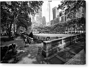 Canvas Print featuring the photograph Bryant Park Angles by John Rizzuto