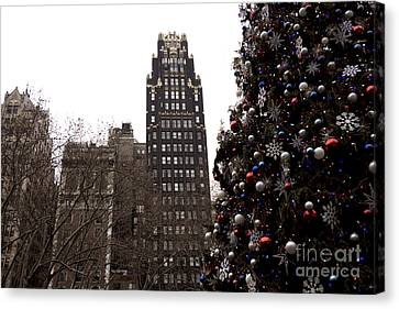 Bryant Canvas Print - Bryant Park Hotel Christmas by John Rizzuto