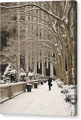 Bryant Park Snow Canvas Print by Andrew Kazmierski