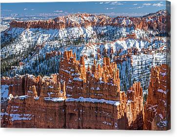 Bryce In Snow Canvas Print by Joseph Smith