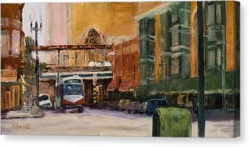 Bryn Mawr Edgewater El Stop Canvas Print by Nancy Albrecht