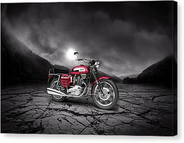 Bsa Rocket 3 1969  Mountains Canvas Print by Aged Pixel