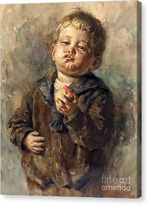 Bub Mit Apfel In Der Hand Canvas Print by MotionAge Designs