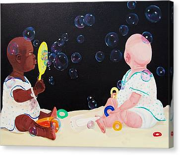 Bubble Babies Canvas Print by Susan Roberts