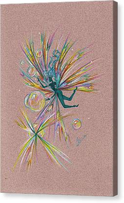 Canvas Print featuring the drawing Bubble Bursting by Dawn Fairies