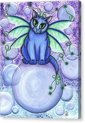 Bubble Fairy Cat Canvas Print by Carrie Hawks