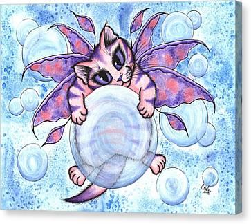 Bubble Fairy Kitten Canvas Print by Carrie Hawks