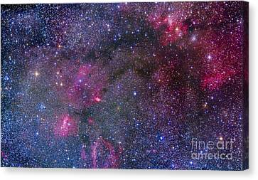 155 Canvas Print - Bubble Nebula And Cave Nebula Mosaic by Alan Dyer