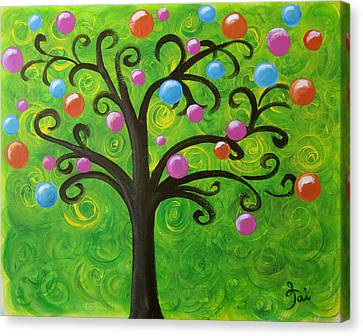 Bubble Tree Canvas Print by Oiyee At Oystudio