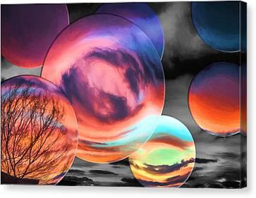 Bubbled Sunset Canvas Print by John Haldane