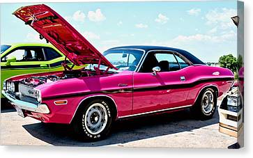 Hot Pink Custom Canvas Print - Bubblegum Pink Classic Dodge Challenger by Amy McDaniel