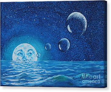 Bubbler Moon Canvas Print by Ned Farrell