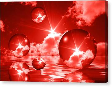Canvas Print featuring the photograph Bubbles In The Sun - Red by Shane Bechler