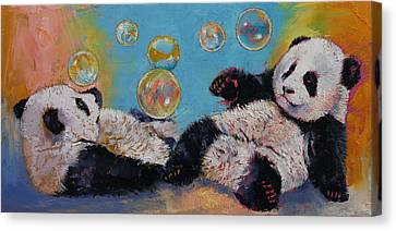 Panda Canvas Print - Bubbles by Michael Creese