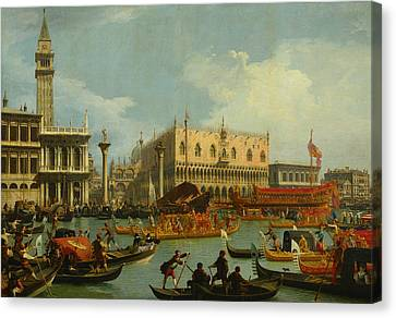 Bucentaur's Return To The Pier By The Palazzo Ducale Canvas Print by Canaletto