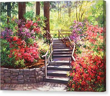 Buchart Garden Stairway Canvas Print by Laurie Hein
