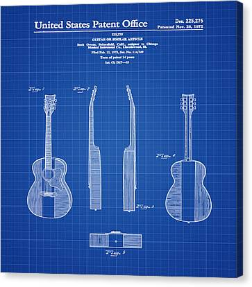 Guitar Canvas Print - Buck Owens Guitar Patent 1972 Blue Print by Bill Cannon