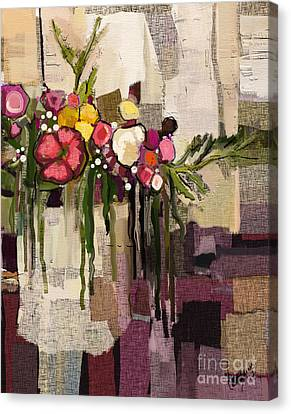 Canvas Print featuring the painting Bucket Of Flowers by Carrie Joy Byrnes