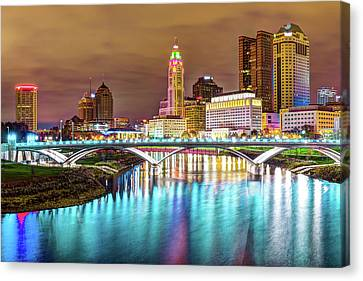 Canvas Print featuring the photograph Buckeye Skyline - Columbus At Night On The Water by Gregory Ballos