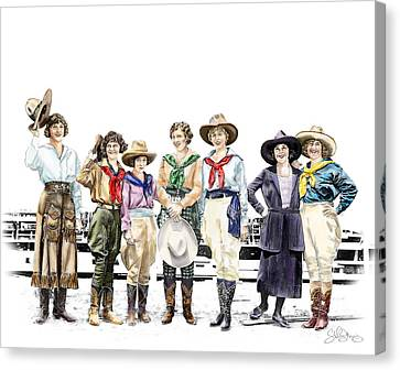 Buckin Horse Suffragettes Canvas Print by Shirley Morris