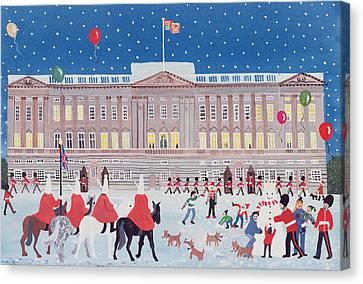 Snowy Night Night Canvas Print - Buckingham Palace by Judy Joel
