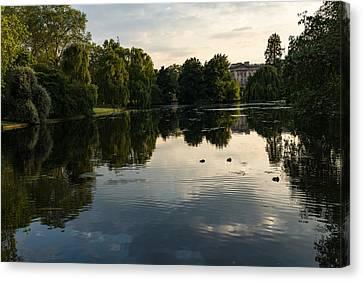 Turbulent Skies Canvas Print - Buckingham Palace Mirror - St James Park Lake In London United Kingdom by Georgia Mizuleva